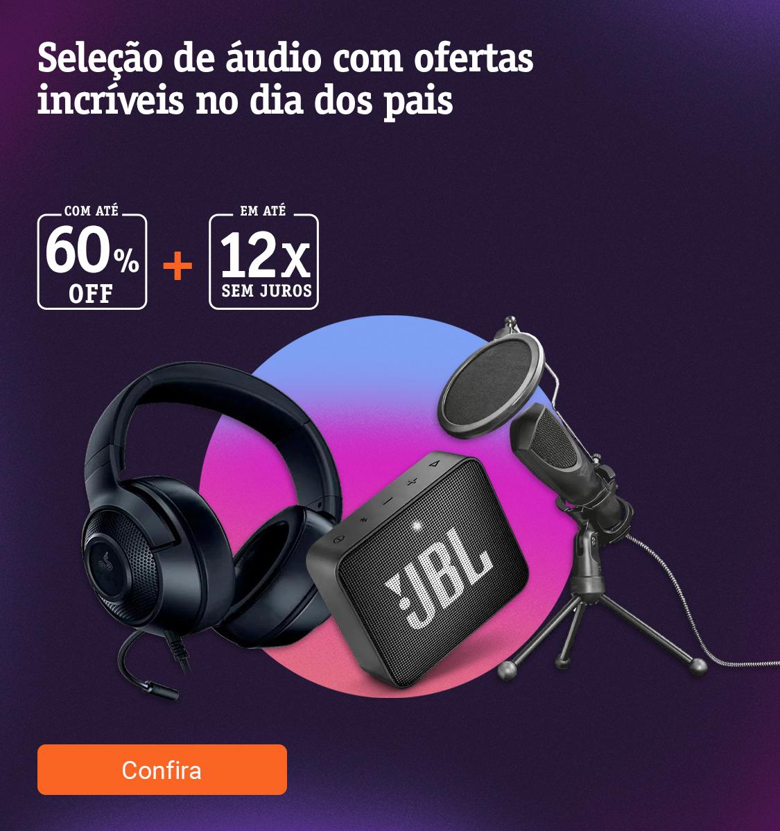 Seleção de áudios com ofertas incríveis com até 60off